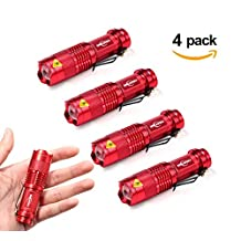 Mikafen 4 Pack Mini Cree Q5 Led Flashlight Torch 300 Lumens 3-speed (Light - Low Light - Strobe)adjustable Focus Zoomable Light (Red)