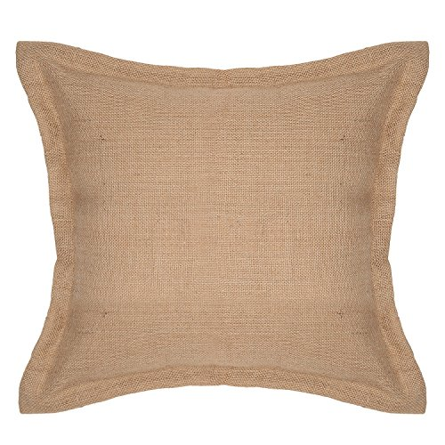 - The White Petals Burlap Throw Pillow Cover - Jute Decorative Pillow Cover - Solid Burlap Accent Pillow with Flange- for Couch & Bed (16x16 inches)