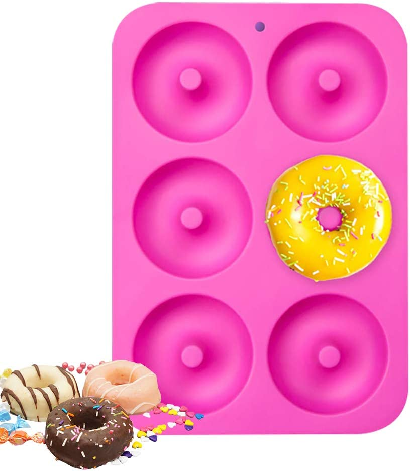 Non Stick//Dishwasher Microwave Safe Silicone Donut Molds,2 Pack Flexible Donut Baking Pans for Perfect Shaped Doughnuts-Cake Biscuit Bagels
