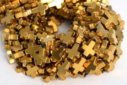 - 10x8mm Gold Hematite Cross Grade Natural Gemstone Loose Beads 7.5'' Crafting Key Chain Bracelet Necklace Jewelry Accessories Pendants