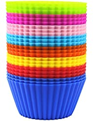 Eoonfirst 24 Pack Silicone Cake Molds / Baking Molds Muffin Cups- eight colors - BPA free & FDA approved
