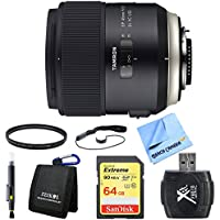 Tamron SP 45mm f/1.8 Di VC USD Lens for Nikon Includes Bonus 64GB SDXC Class 10 High Speed Memory Card, and More