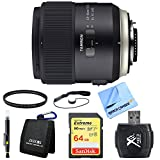 Tamron SP 45mm f/1.8 Di VC USD Lens for Canon EOS Mount 64GB Bundle includes Lens, 67mm UV Filter, Cleaning Pen, 64GB SDXC Memory Card, Wallet, Reader, Lens Cap Keeper and Beach Camera Cloth
