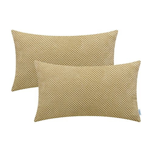 - CaliTime Pack of 2 Comfy Bolster Pillow Covers Cases for Couch Sofa Bed Comfortable Soft Solid Corduroy Pineapple Trellis Both Sides 12 X 20 inches Wheat