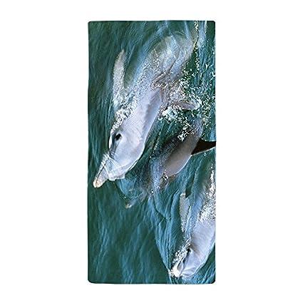 warrantyll personalizado verano sol delfín saltando de grosor suave microfibra toalla de playa 70 * 150