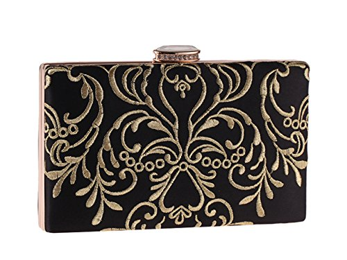Gold Clutch Bridal Ankoee Wedding Women Evening 01 Embroidery Ladies Wedding Prom Purses Clutches Bag Party Black AA6HwPq