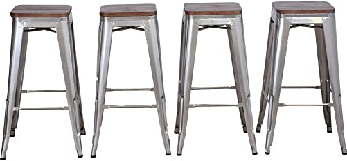 DeKea 30 Inch Backless Stackable Bar Stools Counter Height with Wooden Top Seat Metal Stool Set of 4 Barstools for Kitchen or Indoor Outdoor, Silver