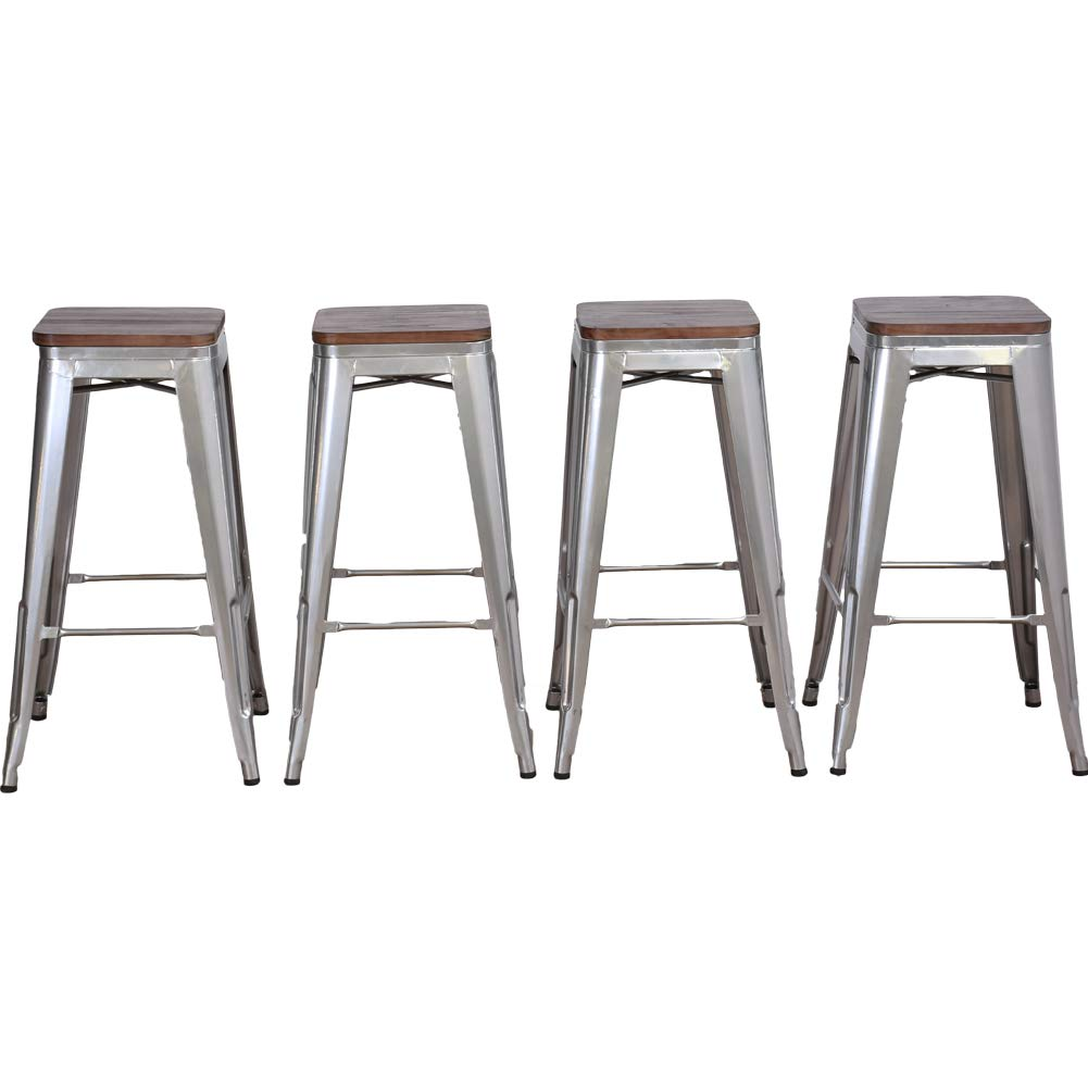 for Kitchen or Indoor//Outdoor Barstools DeKea 18 Inch Metal Bar Stools with Wooden Top Dining Chairs Set of 4 Low Back White