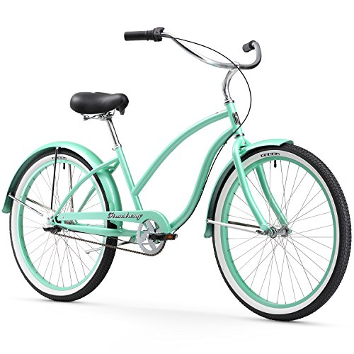 Firmstrong Chief Lady Three Speed Beach Cruiser Bicycle, 26-Inch, Mint Green