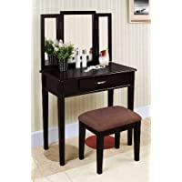 Williams Home Furnishing Black Tri-mirror Vanity