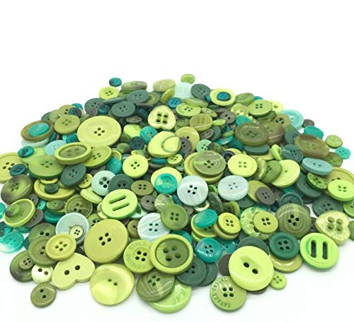 EMAAN 650 pieces of Various Sizes Resin Buttons 2 and 4 Holes Round Craft Buttons Sewing DIY Crafts Scrapbook Children's Handmade Button Painting Button Bouquet (Spring Green) ()