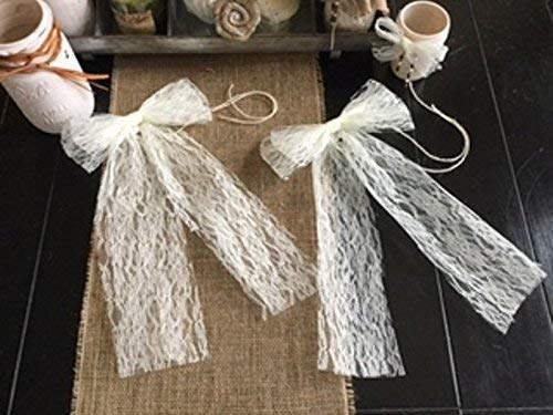 (Set of TWO Elegant All Lace Bows for Pew Chair Table Runner Decor Wedding 8