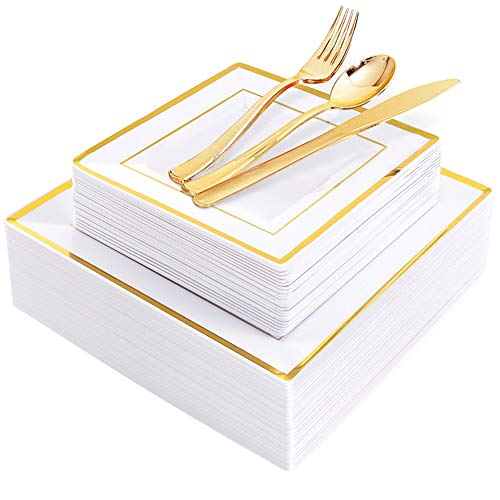 WDF 125pcs Gold Plastic Plates with Disposable Plastic Silverware- Gold Rim Square Plastic Dinnerware include 25 Dinner Plates,25 Salad Plates,25 Forks, 25 Knives, 25 Spoons]()