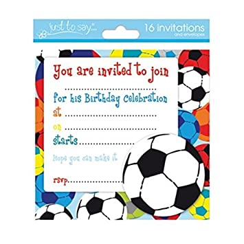 16 x Boys Birthday Invite Party Invitations With Football Design