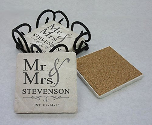 Tumbled Stone Mr and Mrs Coasters, Set of 4