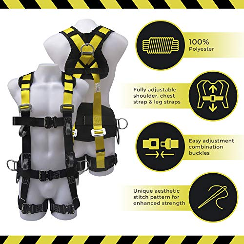 Commando Fall Protect Full-Body Safety Harness with Lanyard (ANSI and OSHA Compliant) by commando (Image #2)