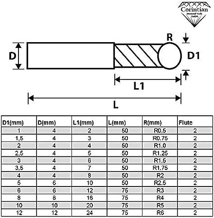 High Performance Cutting HPC geeignet /Ø 1,5mm AlTiN Beschichtung Corintian VHM Radiusfr/äser Kugelkopffr/äser 2 Z/ähne