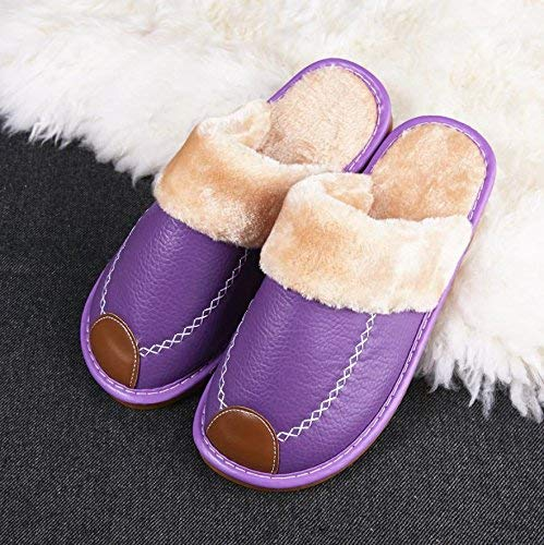 5 JaHGDU Ladies Casual Cotton Slippers Indoors to Keep Warm in Autumn and Winter Leather Slippers Purple Yellow orange Green Pink