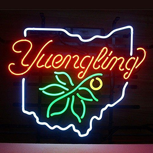 Urby™ Yuengling OHIO STATE BUCKEYE Real Glass Neon Light Sign Home Beer Bar Pub Recreation Room Game Room Windows Garage Wall Sign 18''x14'' YL06