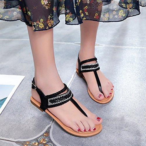 Colore Freddo all'aperto Femminile Scarpe Toe Casuale di Dexinx Spiaggia Clip Solid sulla Estate Nero Leggero Peso di Sandali OE1Pwqf