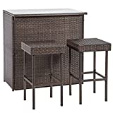 BestMassage Outdoor Wicker Bar Chair Set 3PC Patio Furniture Glass Bar And Two Stools