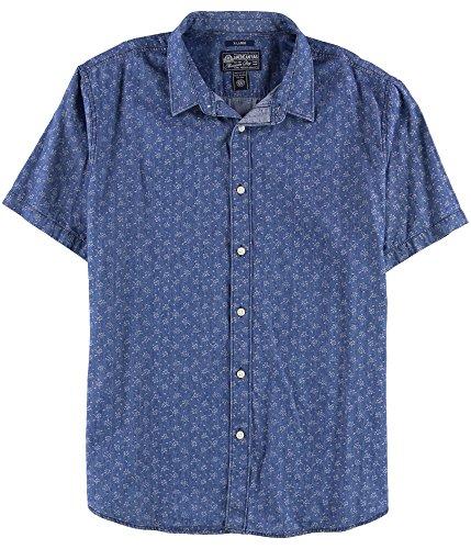 American Rag Mens Denim Jacquard Button Up Shirt, Blue, Medium