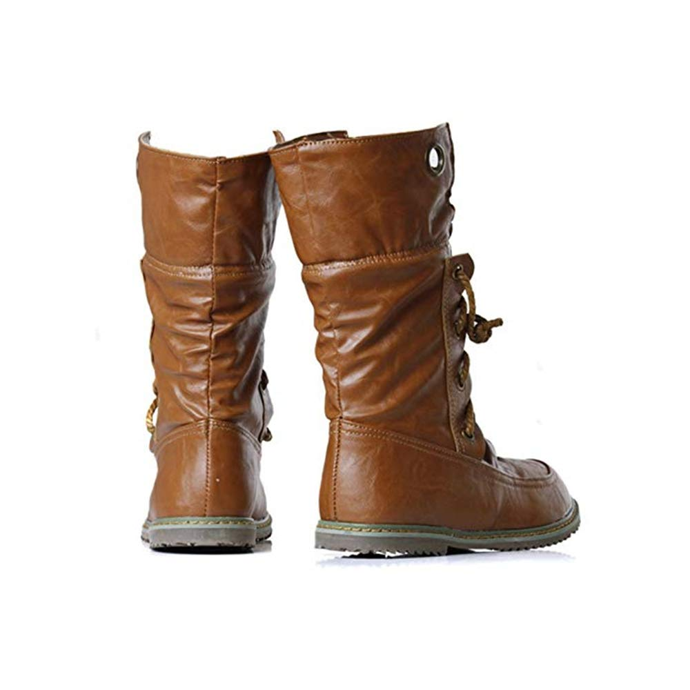 Vintage Lace Up Snow Boots for Women Mid-Calf Leather Flats Knight Booties Shoes