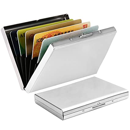 new styles fbc1f 0ecd6 nuosen Metal Credit Card Holder, RFID Blocking Bank Card Wallet Stainless  Steel Credit Card Wallets Business Card Holder Case for Ladies and Men