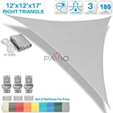 Patio Paradise 12' x 12' x 17' Light Grey Sun Shade Sail Right Triangle Canopy - Permeable UV Block Fabric Durable Outdoor - Customized Available