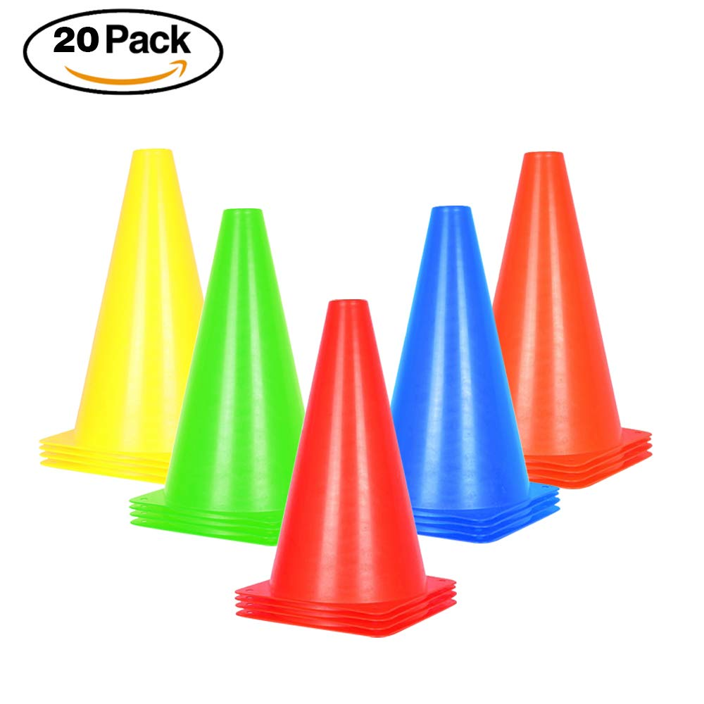 9 inch Traffic Cones - 20 Pack Soccer Training Cones for Outdoor Activity & Festive Events- 5 Colors (Set of 20, 5 Colors)