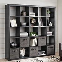 25 Cube Organizer Storage Bookcase Bookshelf or Room Divider (Solid Black)
