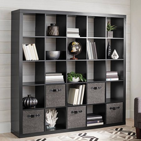 Better Homes and Gardens 25-Cube Organizer Room Divider, Solid Black