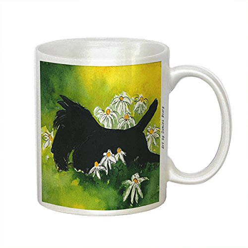 Black Scottish Terrier with Daisies Scottie Dog Art by Denise Every - White Coffee Mug with Round Rubber Drink Coaster (Scottish Art Terrier Dog)