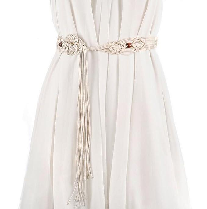 baca73ede76 Fashion Bohemian Tassel Thin Braided Belt Wood Waist Belt Women's Dress  Tassel Belt Knotted Decorated (