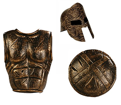 Roman Army Costumes (Spartan Greek Warrior Helmet Set Shield Armor Roman Costume Gladiator)