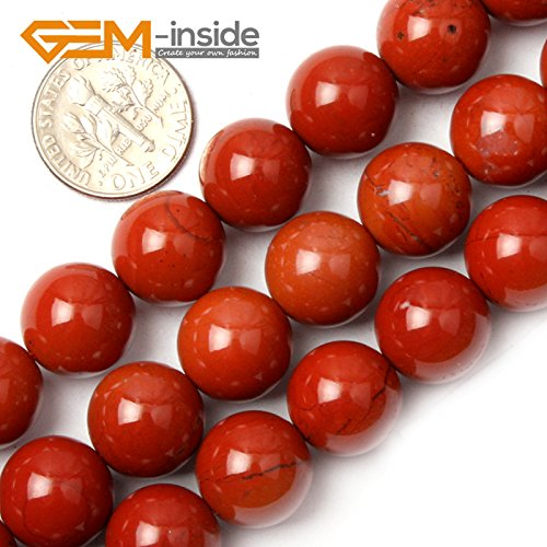 12mm Round Gemstone Beads - GEM-inside Red Jasper Gemstone Loose Beads Natural 12mm Round Crystal Energy Stone Power For Jewelry Making 15