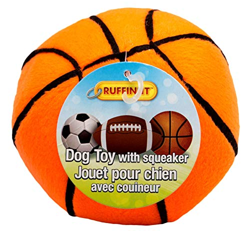 Ruffin It Westminster Plush Sports Ball Dog Toy, Basketball 4.5