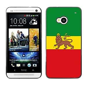 ROKK CASES / HTC One M7 / RASTA MAJESTIC FLAG / Delgado Negro Plástico caso cubierta Shell Armor Funda Case Cover