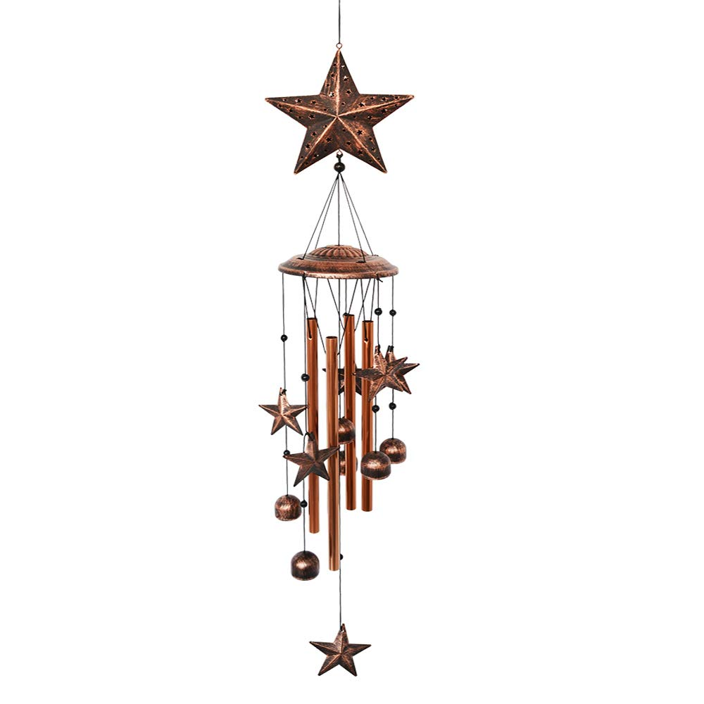 BLESSEDLAND Star Wind Chimes-4 Hollow Aluminum Tubes -Wind Bells and Stars-Wind Chime with S Hook for Indoor and Outdoor