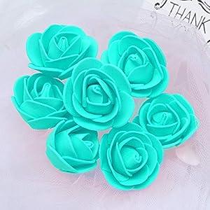 KODORIA 100pcs Artificial Foam Rose Head Artificial Rose Flower for DIY Bouquets Wedding Party Home Decoration - Tiffany Blue 2