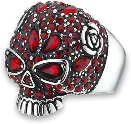 Large Simulated Garnet Rose Skull Skeleton Biker Ring Stainless Steel Band Sizes 8-15