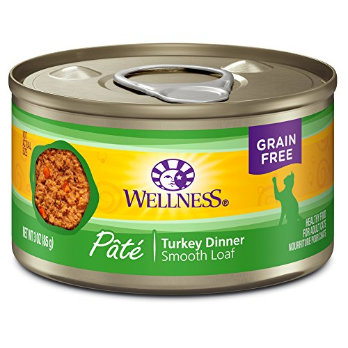 Wellness Natural Grain Free Wet Canned Cat Food, Turkey Pate, 3-Ounce Can (Pack of 24)