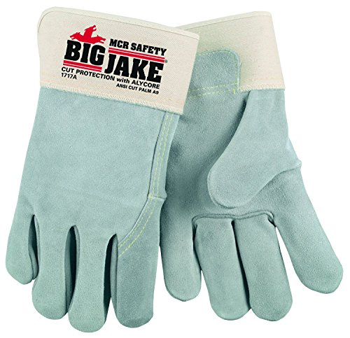 (MCR Safety 1717AM Big Jake Full Leather Back Alycore Cut/Puncture Protection 2.75