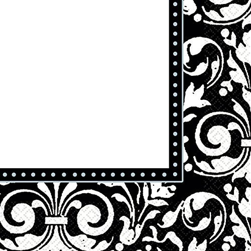 Party Ready Formal Affair Lunch Napkins Tableware, Black and White, Paper , 6