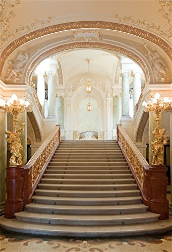 OFILA Elegant Palace Backdrop 5x7ft Grand Hall Luxury Building Interior Design Ceiling Lights Stairway Sculpture Wedding Lover Bride Girl Fashion Model Party Family Children Photos Digital Video Props