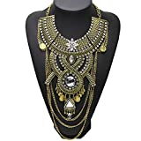 Santfe Fashion Vintage Silver Gold Long Boho Statement Necklace Trendy Bohemian Turkish for Women Accessories Jewelry (Gold)