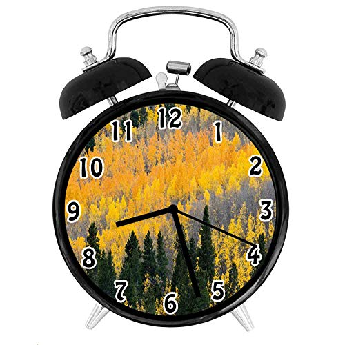 Colorado Rockies Desk Clock - 22yiihannz Fall Silent Luminous Alarm Clock,Colorful Aspen Forest in Colorado Rocky Mountains Western Wilderness USA-No Ticking,Soft Night Light,The Best Gift for Family or Friends-3.8 inch