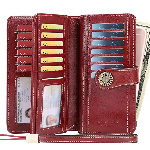 Women Wallet, Large Capacity with RFID Protection, Genuine Leather by SENDEFN (Wine Red)
