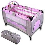 Infantastic Kinderreisebett Babyreisebett mit Babyeinlage, inkl. Matratze + Zubehör, rosa