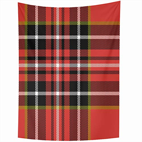 Ahawoso Tapestry 60x90 Inch Line Green Pattern Red Black White Tartan Retro Abstract Plaid Kilt Scottish Bright British Checked Wall Hanging Home Decor for Living Room Bedroom Dorm ()